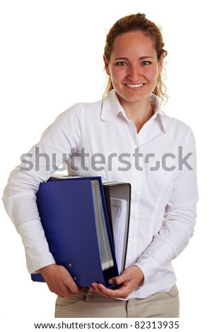 Happy smiling business woman carrying files and folders