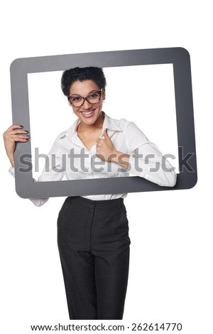 Happy smiling business woman looking through frame and showing approving gesture, over white background - stock photo