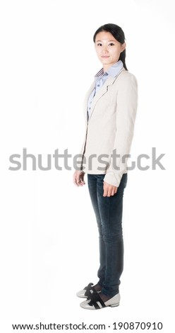 Happy smiling business woman portrait. Isolated on white background