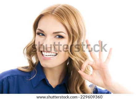Happy smiling business woman with okay gesture, isolated over white background - stock photo