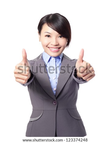 Happy smiling business woman with thumbs up gesture isolated on white background, asian beauty model - stock photo