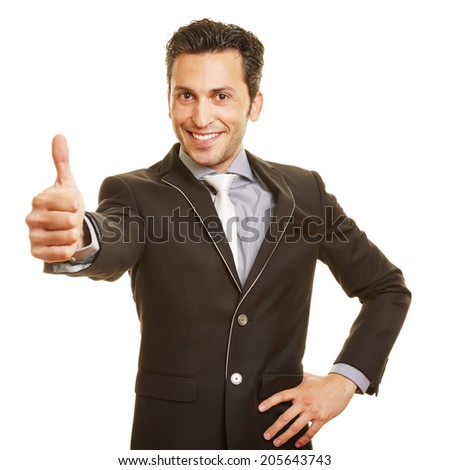 Happy smiling businessman holding his thumbs up