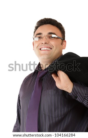 Happy smiling businessman in formal wear isolated on white background - stock photo