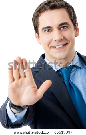 Happy smiling businessman with stop gesture, isolated on white background - stock photo