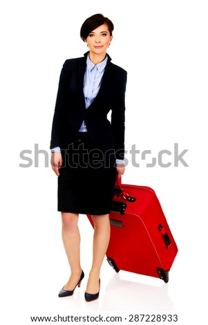 Happy smiling businesswoman with suitcase.