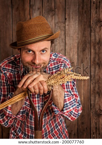 Happy smiling caucasian forty years old farmer or gardener in a hat holding wheat bunch on rustic vintage planked wood background - agriculture. Food production - cereal. - stock photo