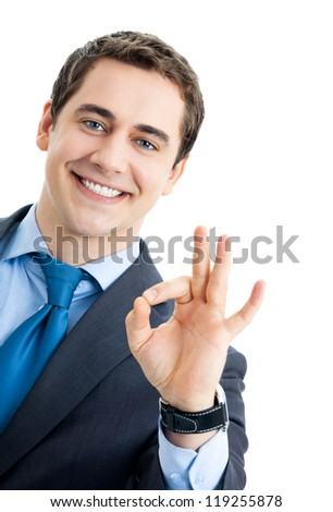 Happy smiling cheerful business man with okay gesture, isolated over white background - stock photo