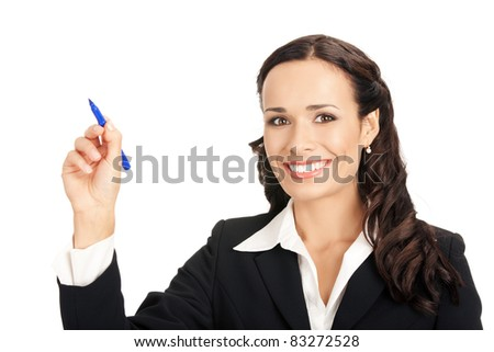 Happy smiling cheerful young business woman writing or drawing on screen with blue marker, isolated on white background