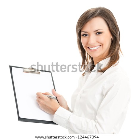 Happy smiling cheerful young businesswoman writing on clipboard, isolated on white background - stock photo