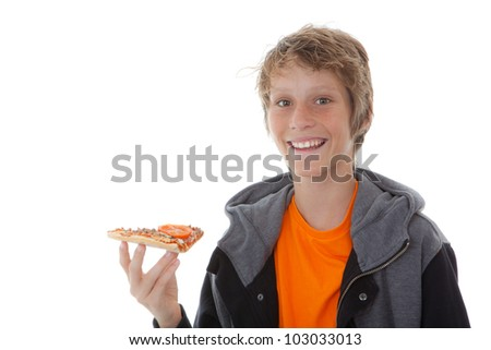 happy smiling, child eating fast food pizza slice
