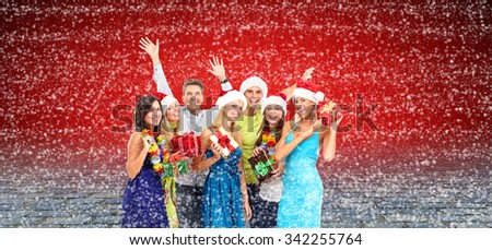 Happy smiling Christmas people with gifts collage background. - stock photo