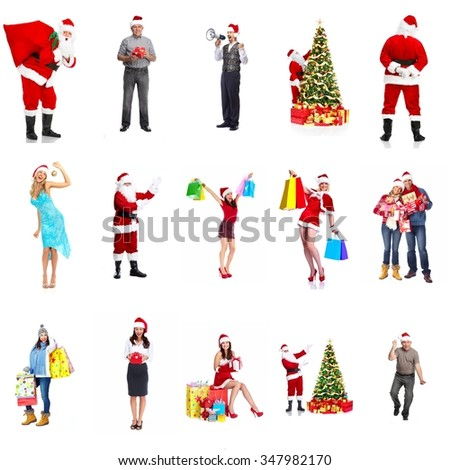 Happy smiling Christmas people with gifts collage isolated white background.