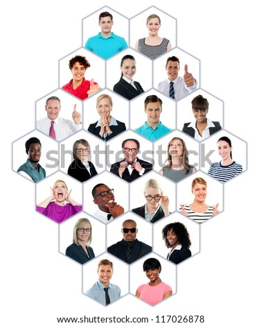 Happy smiling collage collection of multiracial group of people showing racial diversity - stock photo