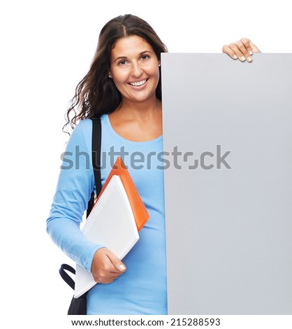 Happy Smiling College Student Holding blank billboard