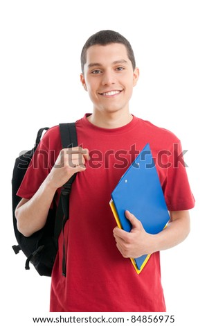 Happy smiling college student isolated on white background - stock photo