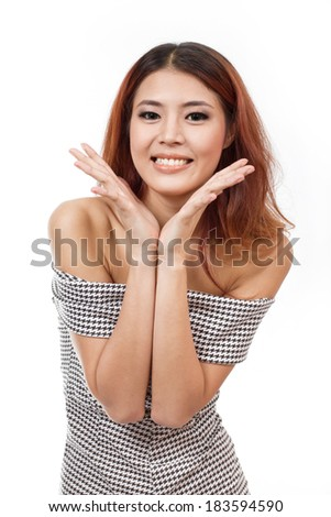 happy, smiling, confident woman showing positive expression at you on white background