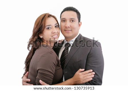 Happy smiling couple in love. Over white background.
