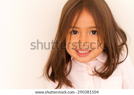 happy smiling cute little girl, with copyspace - stock photo
