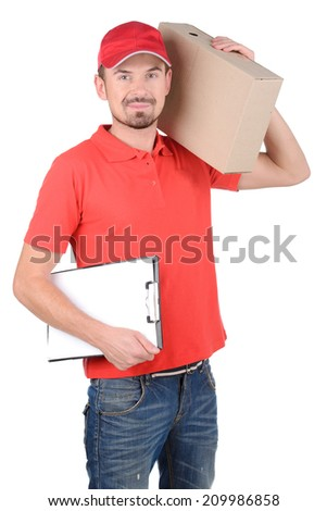 Happy smiling delivery man signing papers for delivery. isolated on white background
