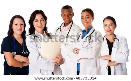 Happy smiling doctor physician nurse practitioner medical team standing together, on white.