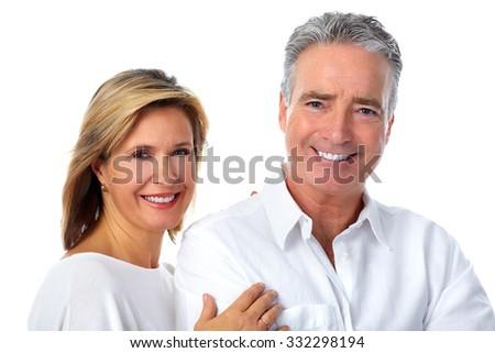 Happy smiling elderly couple isolated white background. - stock photo