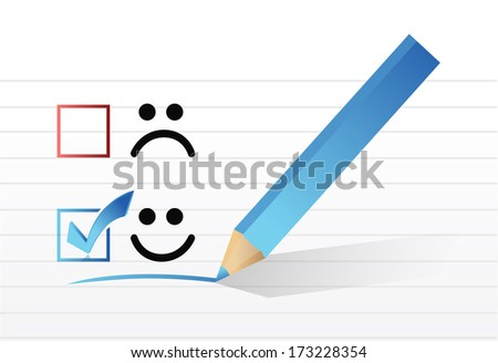 happy smiling face check mark concept illustration design over a white background - stock photo