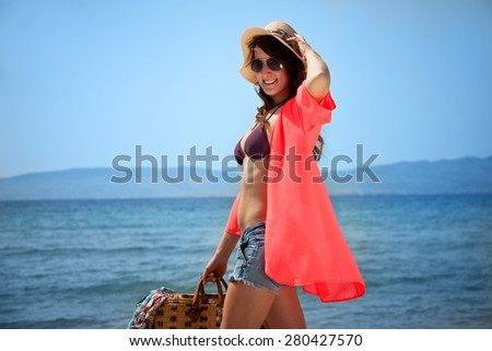 Happy Smiling Face Girl is On the Beach - stock photo