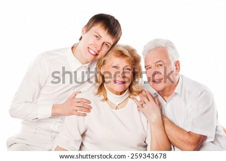 Happy smiling family. Isolated on white background. - stock photo