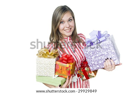 Happy smiling girl holding gifts, isolated on white - stock photo