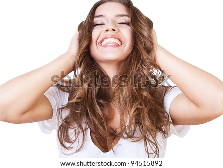 happy smiling girl with long hair - stock photo