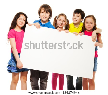 happy smiling group of kids friends boys and girls showing blank placard board - Kids Pictures
