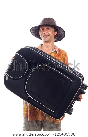 Happy smiling man travelling with luggage, isolated on white background. - stock photo