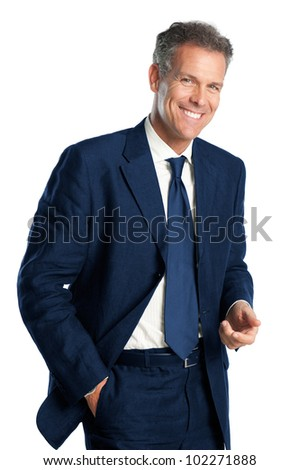 Happy smiling mature businessman standing with friendly expression on white background