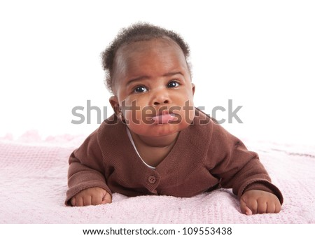 Happy Smiling 3-month Old Baby African American Girl Crawling Funny Expression on White Background - stock photo
