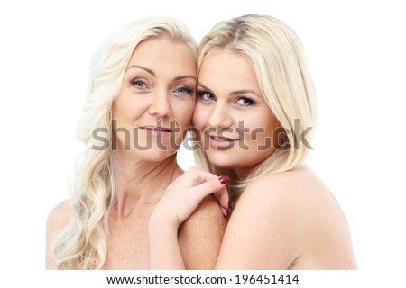 Happy smiling mother and daughter isolated on white background - stock photo