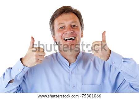 Happy, smiling old senior man shows both thumbs up. Isolated on white background. - stock photo