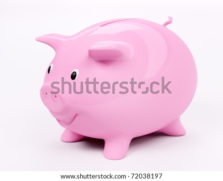 Happy smiling piggy bank 3d render - stock photo