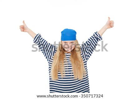 Happy smiling pirate girl showing thumbs up. Isolated on white background - stock photo