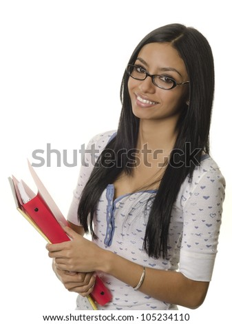 Happy smiling positive young woman holding office supplies - stock photo
