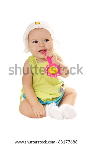 Happy smiling pretty baby girl with rattle isolated on white background - stock photo