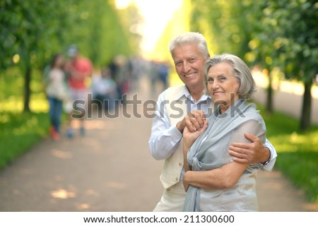 Happy smiling  retired couple posing in park - stock photo