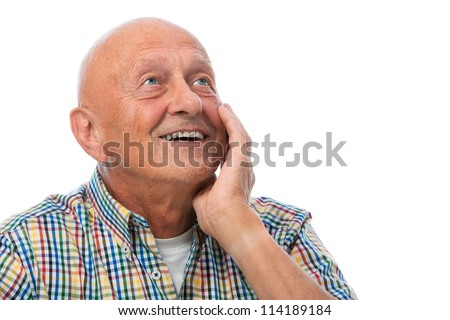 Happy smiling senior man looking up - isolated over white - stock photo