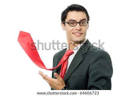 Happy smiling successful businessman with raised red tie, isolated on white background - stock photo