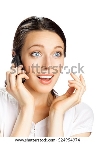 Happy smiling successful businesswoman with cell phone, isolated on white background