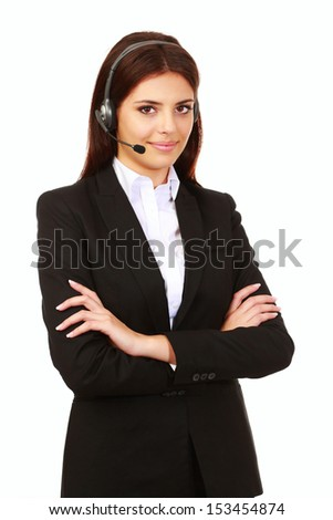 Happy smiling support phone operator in headset, isolated on white - stock photo