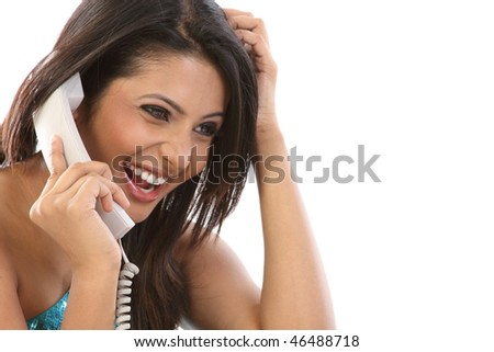 happy smiling teenage girl with the telephone - stock photo
