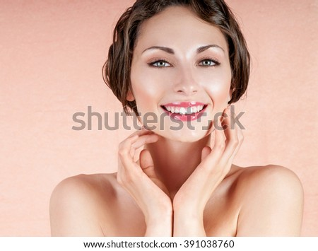 Happy smiling woman. Beauty Woman. Beautiful Young. Healthcare. Perfect Skin. Beauty Face. - stock photo