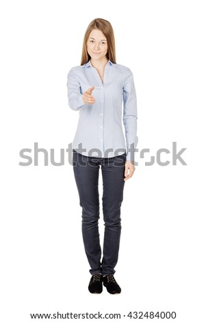 happy smiling woman giving hand for handshake. Image on a white background. business, people, gesture, partnership and greeting concept - stock photo