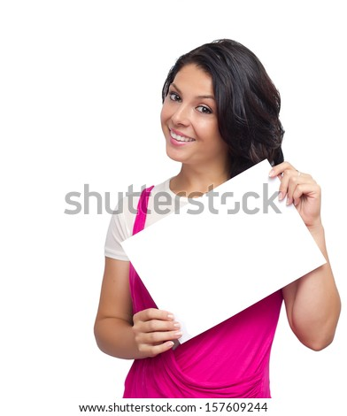 Happy smiling woman holding a white  sheet - stock photo