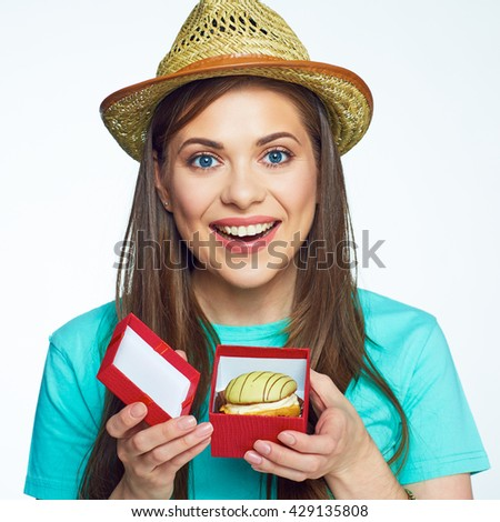 Happy smiling woman received present gift box with cake. Take care of your calories and you will have a beautiful view. Food creative. - stock photo